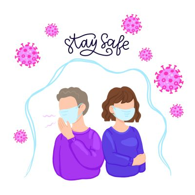 COVID-19 Wuhan Novel coronavirus 2019-nCoV, woman and man in shirt with blue medical face mask. Concept of coronavirus quarantine, stay safe inscription.
